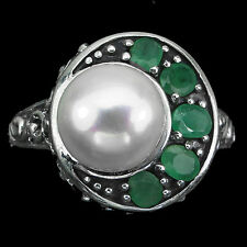 CHARMING ROUND 10mm CREAMY WHITE PEARL & EMERALD STERLING 925 SILVER RING 8.5