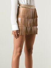 Elisabetta Franchi Women's Beige Fringed Skirt golden chain size it 40