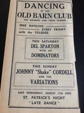 F9-1 Ephemera 1965 Advert Cornwall Old Barn Johnny Shake Cordell Del Sparton