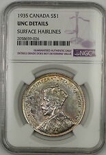 1935 Canada Silver $1 Dollar Coin NGC UNC Details Surface Hairlines (A)