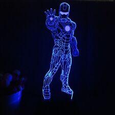 Superheld Ironman LED 3D 7 Farben Tischlampe Acryl Leuchte Nachtlicht Leselampe
