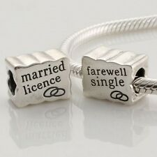 1 Solid Sterling Silver Marriage Licence/Farewell Single Bead for Charm Bracelet