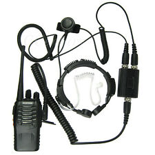 2 Pin Heavy Duty Tactical PTT Throat Mic Earpiece Headset For Kenwood Radio A101