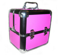 Large Cerise Ribbed Locking Cosmetic Beauty Vanity Case Make up Box Nail Art