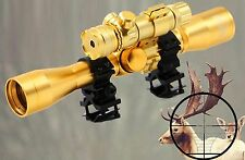 Tactical 4X32 Optics Reticle Scope Sight&Red Laser sight Champange Gold Color