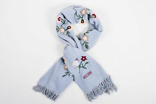 Moschino Gray Multicolor Wool Floral Embroidered Fringe Edge Scarf