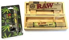 Smoking Wooden Stash Rolling Small Box RAW King Size Connoisseur Papers and Pipe