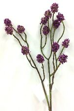 "Button Flower Spray Stem. Lavender. Artificial. 24"" Tall"