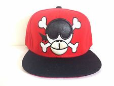 Monkey Skull Two Tone Red/Black Embroidered Snapback Cap