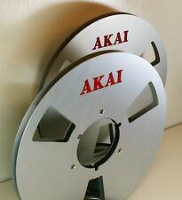 "2 X AKAI RED LOGO METAL NAB HUB REEL TO REEL 10.5"" X 1/4"""