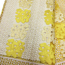 Yellow Stretch Mesh Embroidery African French Lace with Stone Fabric 4F51-YL New