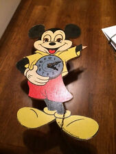 Vintage 1940's Mickey Mouse Clock - Wooden - Germany - As Is