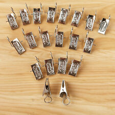 20pcs Silver Metal Curtain Voile Net Hook Drapery Stronge Clips Pole Rod Haning