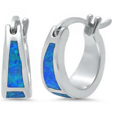 BEST SELLER! Blue Australian Opal Hoop .925 Sterling Silver Earrings