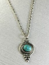 Necklace Turquoise colored Stone Silver Tone Setting and Chain N98