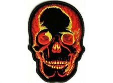 "(F29) FLAMING SKULL 2.75"" x 4"" iron on patch (2429) Biker Patch"