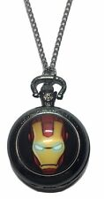 """Marvel Comics IRONMAN Face Glass Dome Pendant Watch on 30"""" Chain"""