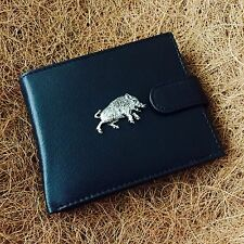 Antique Pewter Wild Boar Emblem on a Genuine Cow Hide Leather Money Wallet