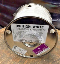 500 FT THHN/THWN WIRE 12 AWG SOLID WHITE 600 VOLT. MADE IN USA. WHITE ONLY!
