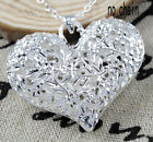 Fashion Silver 3D Hollow Out Heart Flower Ball Necklace Pendant New