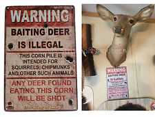 Warning Illegal Deer Baiting Hunting Funny Tin Sign Bar Garage Wall Decor Metal