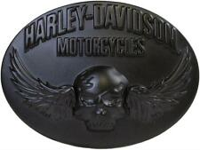Harley Davidson Mens Smokin Winged Skull with Flames SKULL Buckle