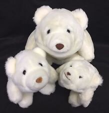 "Gund Snuff Snuffles 6"" 7"" 10"" White Polar Teddy Bear Plush Set Lot Vintage 1980"