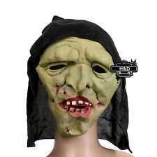 Latex Scary Green Face Witch Mask Halloween  Party Fancy Dress Costume Cosplay