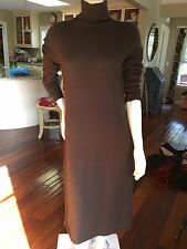 Brown Ralph Lauren Green Label Cashmere Long Sleeve Turtleneck Dress Size Small