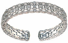 Judith Ripka Sterling Silver Diamonique Lace Design Cuff Bracelet Size Medium