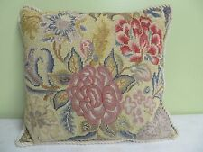 "Decorative Pillow Hand Made Needlepoint Wool Front Flowers Zipper 17"" X 15"" Nice"