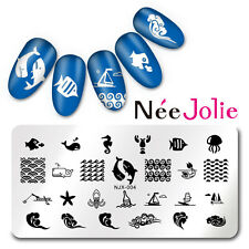 Nail Art Stamping Plate Rectangle Image Template Manicure Ocean Design NJX-004