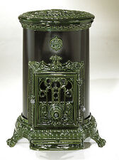 NEW French 7kw Godin 3726 Stove Cast Iron Wood Burner Coal multifuel Oval Green