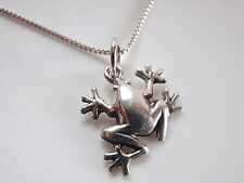 Very Small Frog Pendant 925 Sterling Silver Corona Sun Jewelry lake pond lilly