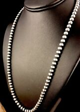 "Native American Navajo Pearls 6mm Sterling Silver Bead Necklace 24"" Sale"