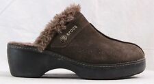 Crocs Suede Faux Fur Split Toe Wedge Cobbler Clog Mules Women's U.S. 8-8.5
