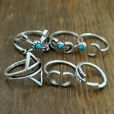 Women Vintage 6pcs/Set Rings Band Silver Finger Stacking Rings Turquoise Tibetan