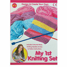 My First Knitting Set Coloured Wool, Needles & Full Instructions Childrens Craft