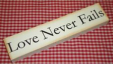 """Rustic Country Wood Message Block """"LOVE NEVER FAILS"""" home decor"""