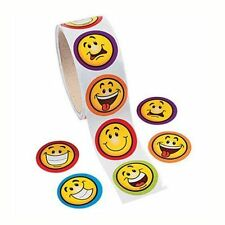 Roll of 100 Goofy Smile Happy Face Stickers Kids Crafts Birthday Party Favors