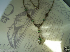 Vintage Victorian Style Peridot Green and Bronze Necklace Steampunk