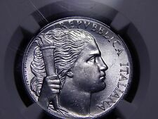 Italy 1949 5 Lire; MS 63 (NGC) 4th Finest! Woman Obv. Grapes Rev.
