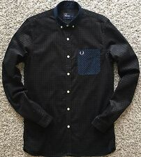 Fred Perry Men Polo Casual Shirt Long Sleeve Black Floral Pocket Slim Fit S