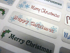 Merry, Happy Christmas Greeting Stickers, Labels for Cards, Envelopes XS4512
