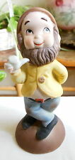 Vintage Bisque Porcelain Brown Bearded Elf Dwarf Gnome with Pipe Figurine