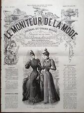 LE MONITEUR DE LA MODE 1891 N 47 TOILETTES DE VILLE. DESSIN DE C. DE TRESSE