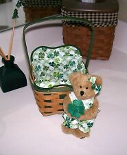 Longaberger Lucky Wish Irish Basket & Chloe Boyd's Bear - NEW Rare!  St Patricks