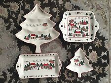 "Vintage Masons Ironstone ""Christmas Village"" Four Piece Christmas Serving Dishes"
