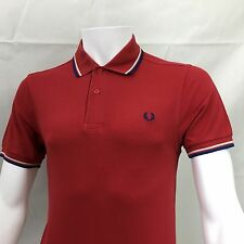 Fred Perry mens polo shirt Medium 40 red white blue twin tipped casuals