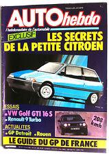 AUTO HEBDO du 27/06/1985; Essai Essai Golf GTi 16s/ R9 Turbo/ GP Détroit